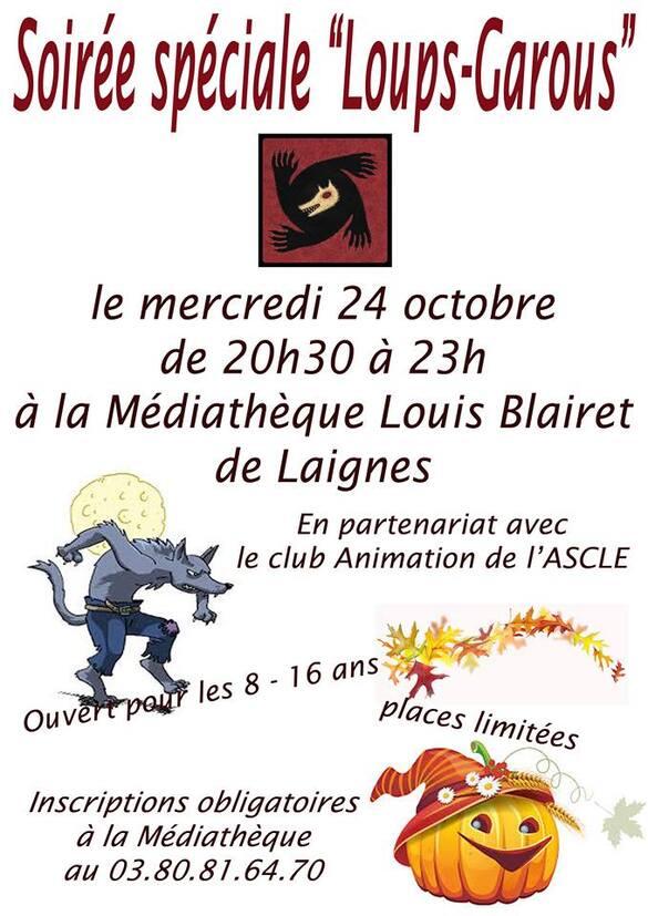 """Une soirée """"loups-garous"""" à la médiathèque de Laignes, inscrivez vous !"""