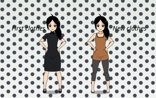 Kaïa-Les vêtements (avant/après)