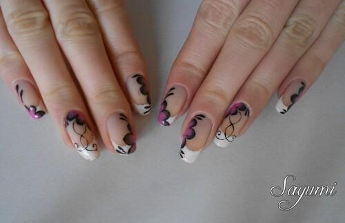 Nail Art One stroke inspiration japonaise