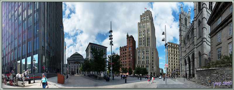 Vues panoramiques de la Basilique Notre-Dame de Montréal et de la place d'armes - Montréal - Québec - Canada