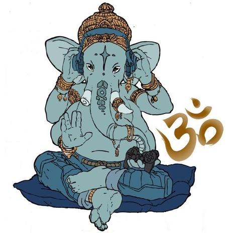 Ganesh jouant à son jeu virtuel