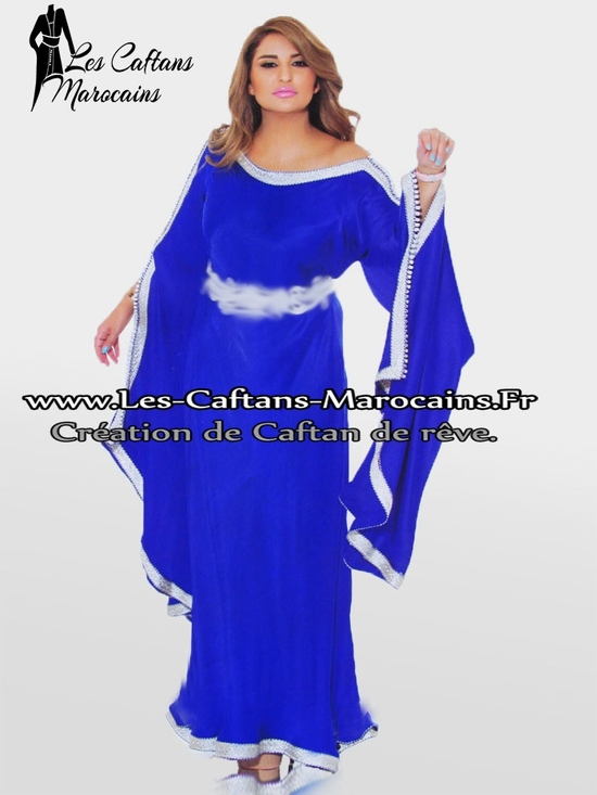 Caftan-gandoura--bleu-éléctrique pour vos soirée avec une touche marocaine KAF-S939