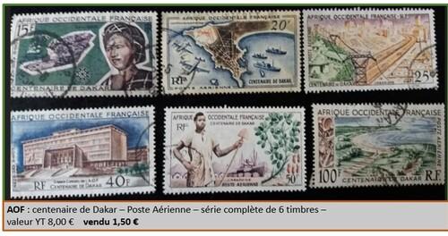 AOF série poste aérienne de 6 timbres