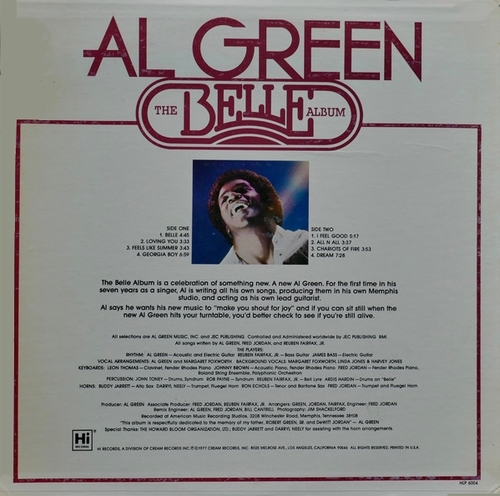 "Al Green : Album "" The Belle Album "" Hi Records HLP 6004 [ US ]"