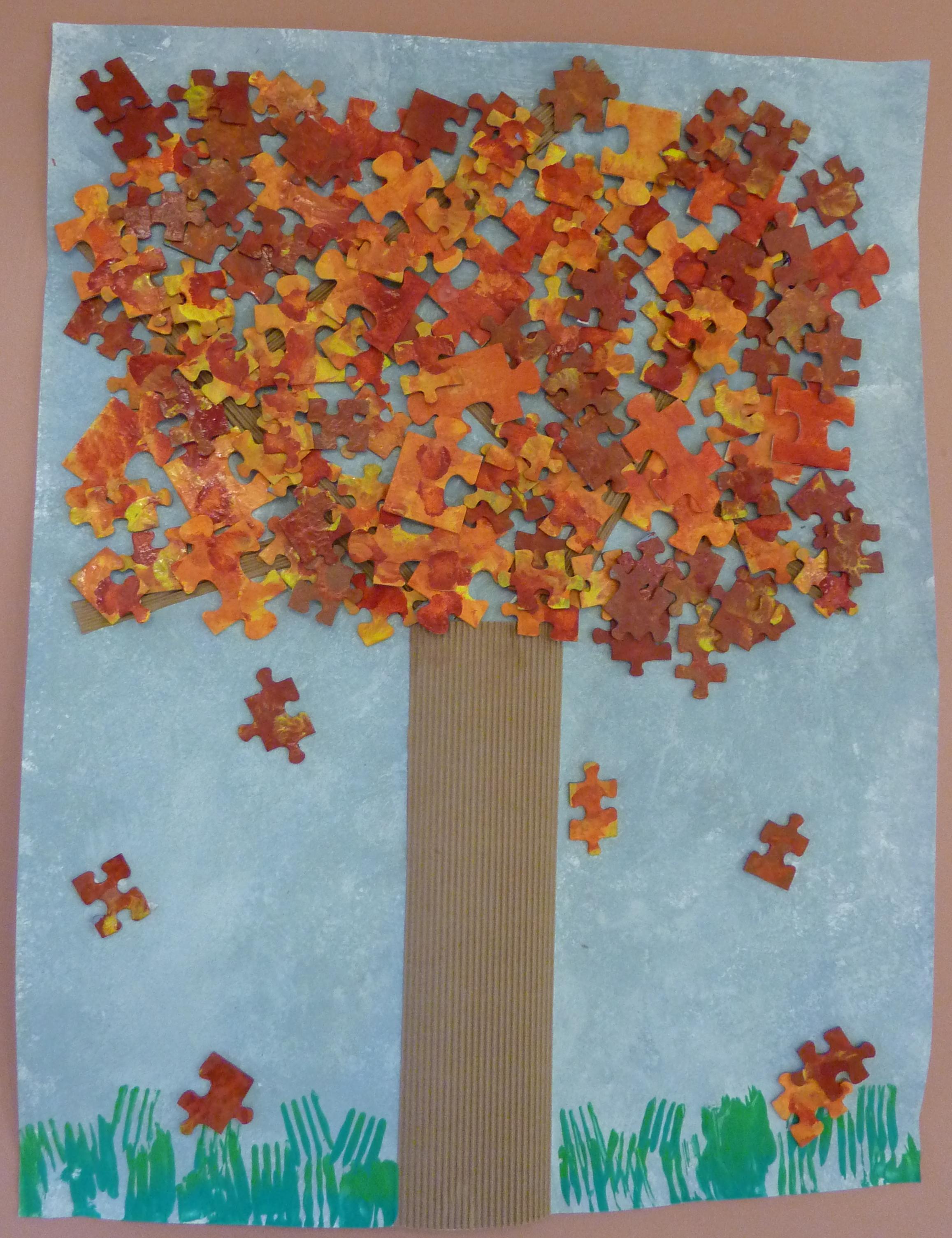 Coloriage Arbre Dautomne Maternelle.Maternelle Arts Visuels Automne Arbre Puzzle D Automne