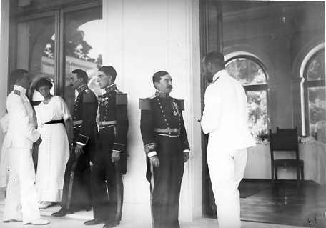 Grand Duchess Tatiana and Nicholas II visiting with some officers at Livadia: 1913.