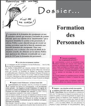 - Un dossier formation des personnels dans la revue de l'UNSEN-CGT