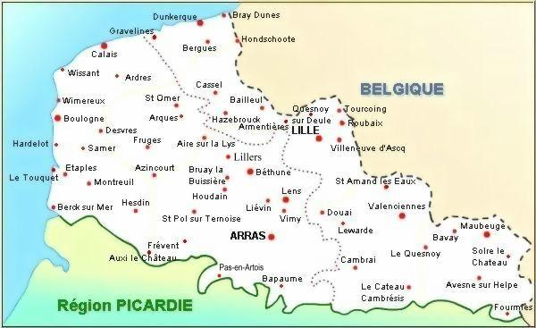Carte de la Région Nord - Pas de Calais