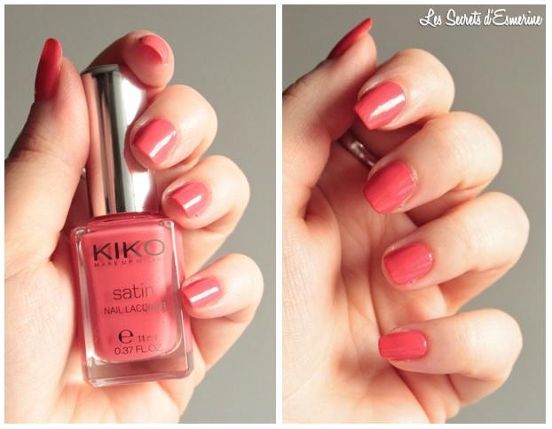 rose, coral, 444, satin, vernis, nail, lacquer, Kiko