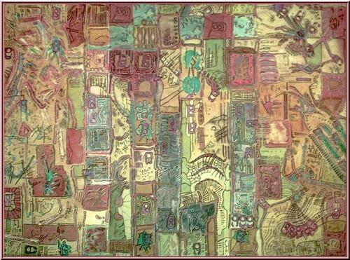 L'arche des songes .  Tableau abstrait  de Joel Georges .