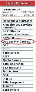 Bouton Debs sur Prdouane