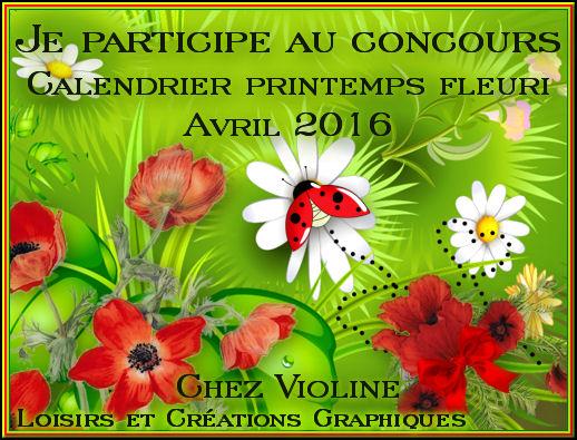 CONCOURS CALENDRIER  AVRIL 2016 Chez VIOLINE
