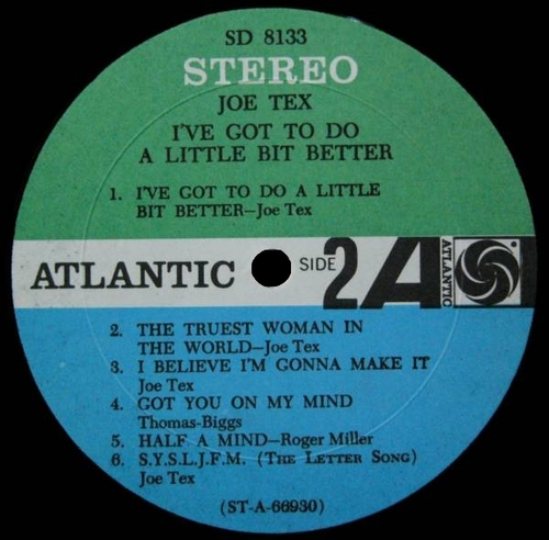 "Joe Tex : Album "" I've Got To Do A Little Bit Better "" Atlantic Records SD 8133 [ US ]"