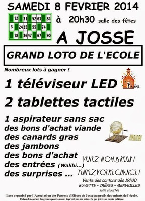 Grand loto de l'école de JOSSE 40 landes