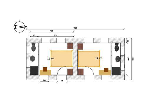 Plan du projet 2016, Voûte Nubienne, 2 pièces