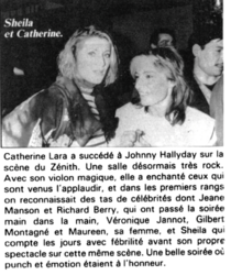 06 février 1985 : Sheila au Zénith (de Catherine Lara)...