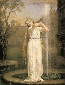 La peinture montre une femme à la longue chevelure se tenant debout près du jet d'eau vertical d'une fontaine.