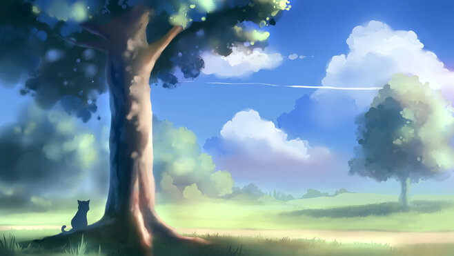 Art, apofiss, chat, arbre, paysage Wallpaper