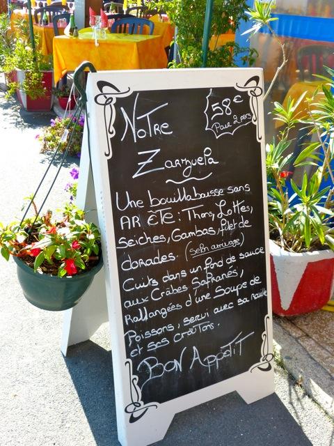 Menu de poissons et coquillages à Mèze, Hérault