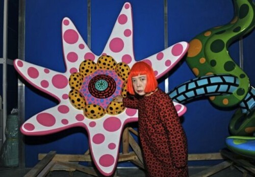 Kusama flower portrait