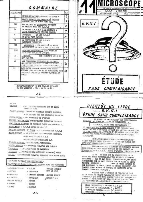 Microscope N° 11   OVNIs:  étude sans complaisance (Juillet /août 1986)