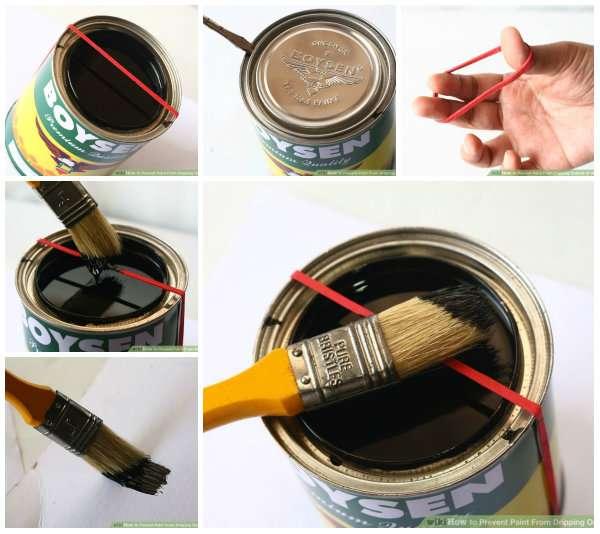 Mettez un élastique autour du pot de peinture pour égoutter le pinceau
