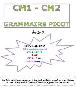 Picot - Grammaire - Sommaire - année 3