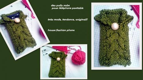 house fashion phone,   une pochette pour téléphone portable en forme de pull robe