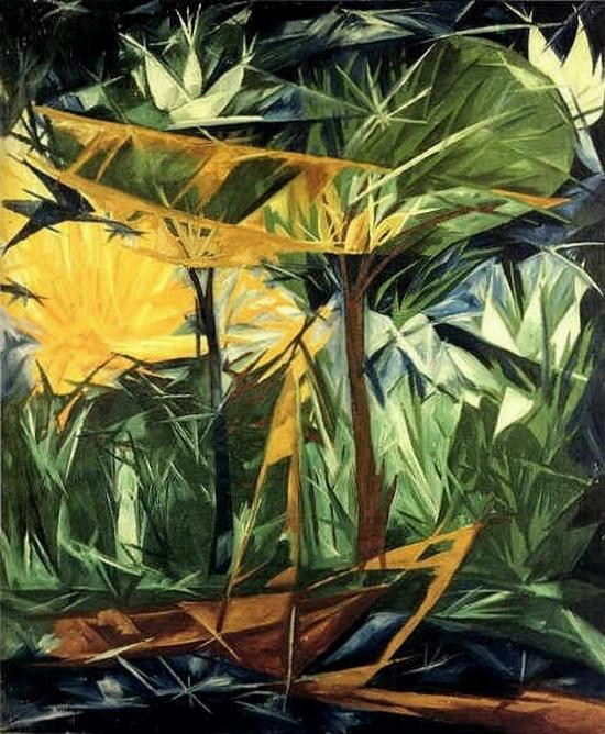 Natalia Gontcharova, Forêt jaune et verte, 1912