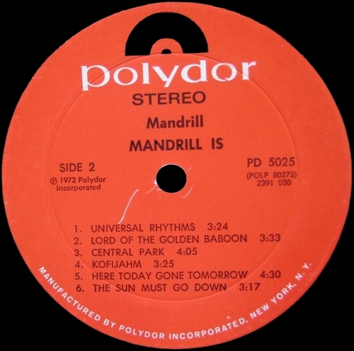 "1972 : Album "" Mandrill Is "" Polydor Records PD 5025 [ US ]"