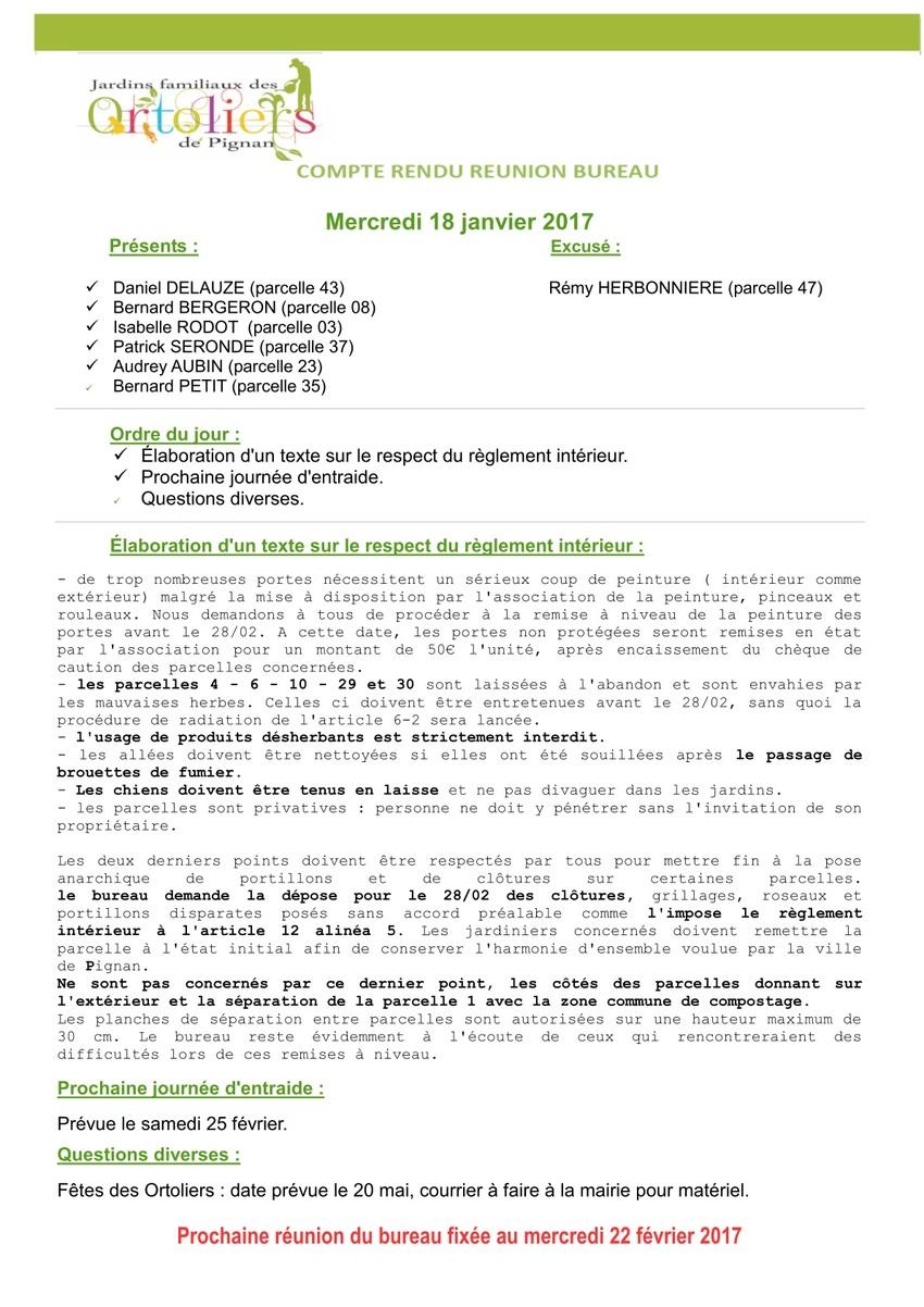 Réunion de bureau du 18 janvier 2017