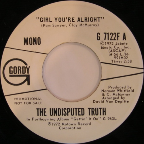 1972 : Single SP Gordy Records G 7122F / G 7122F A Promo [ US ]
