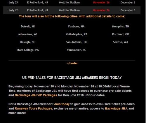 Nouvelles dates US 2013