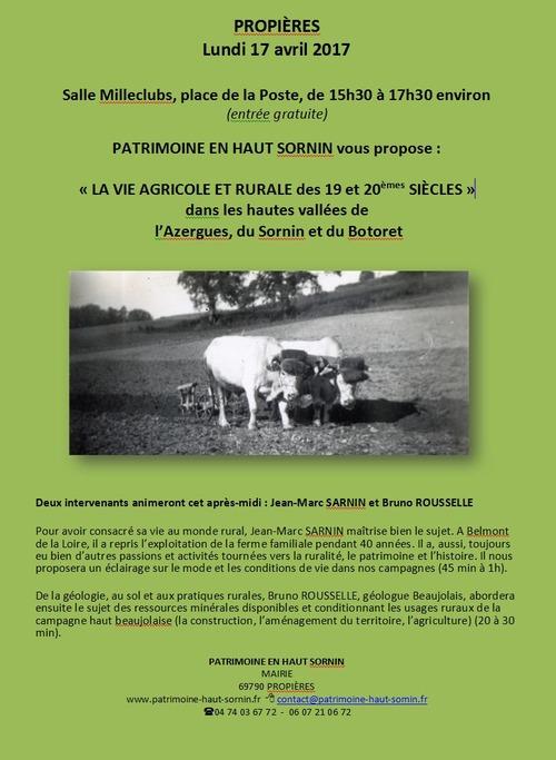 Conférence La vie agricole au 19eme et 20 eme siècle
