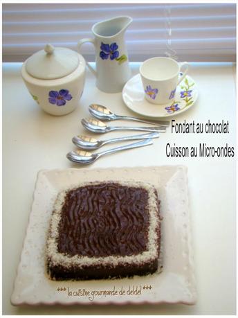 FONDANT AU CHOCOLAT,NOIX DE COCO CUISSON AU MICRO-ONDES