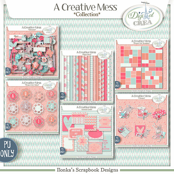 A Creative Mess Collection by Ilonkas Scrapbook Designs