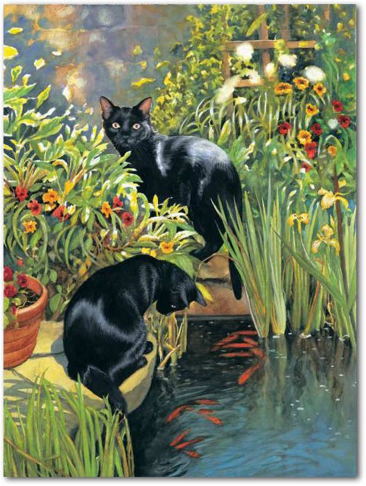 SunsOut 1000 Piece Black Cats and Koi Pond Jigsaw Puzzle RILEY AND DIANA by Chrissie Snelling