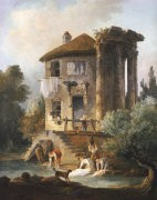 Washerwomen-Outside-The-Temple-Of-The-Sibyl--Tivoli-Hubert-