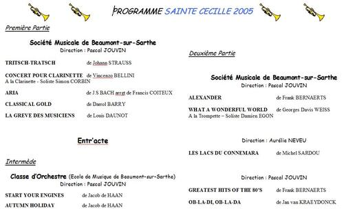 Programme Concert Sainte Cécile 2004