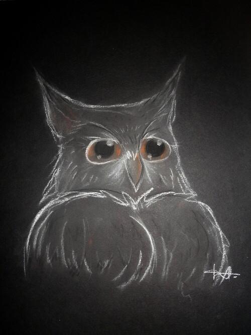 • Un essai au crayon pastel - Hibou