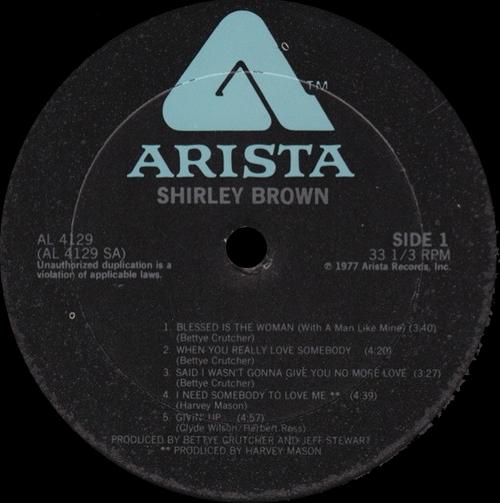 "Shirley Brown : Album "" Shirley Brown "" Arista Records AL 4129 [ US ]"