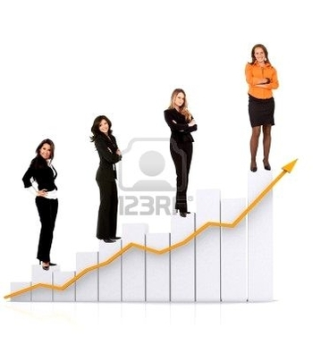 5593247-group-of-busines-women-standing-on-a-chart-isolated
