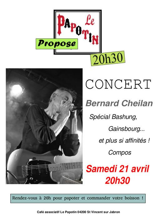 *Prochain concert au Papotin le 21 avril: Bernard CHEILAN