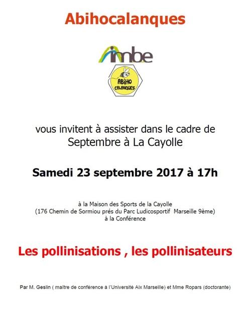 Conférence Les Pollinisations les Pollinisateurs samedi 23 septembre 2017 17 h Maison des sports de La Cayolle dans le cadre de la Fête de l'Abeille et de l'environnement