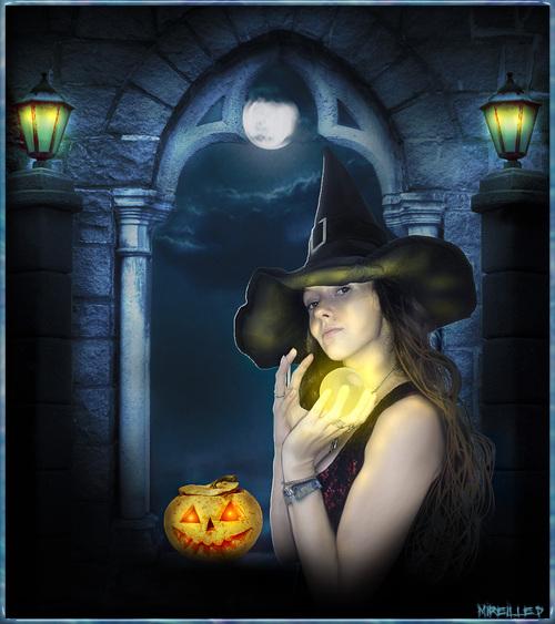 Photomontage Sorcière Halloween
