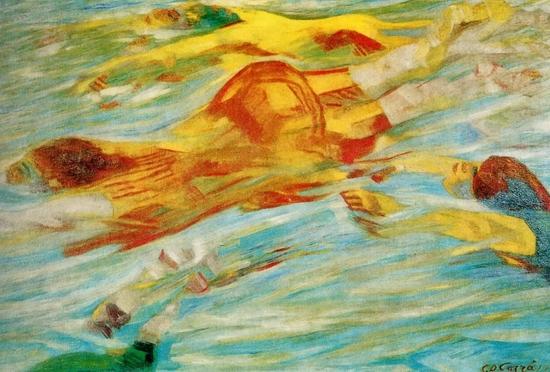 Carlo Carrà, Les nageuses, 1910