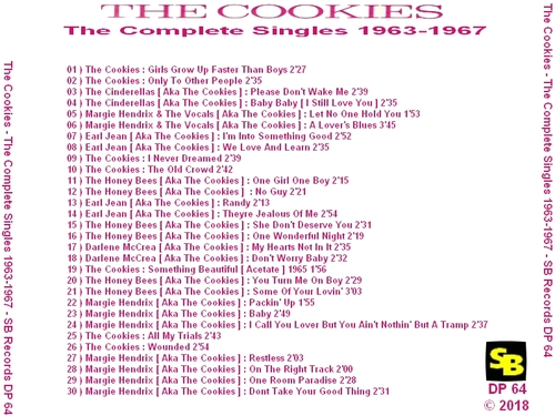 "The Cookies : CD "" The Complete Singles 1963-1967 "" Soul Bag Records DP 64 [FR]"