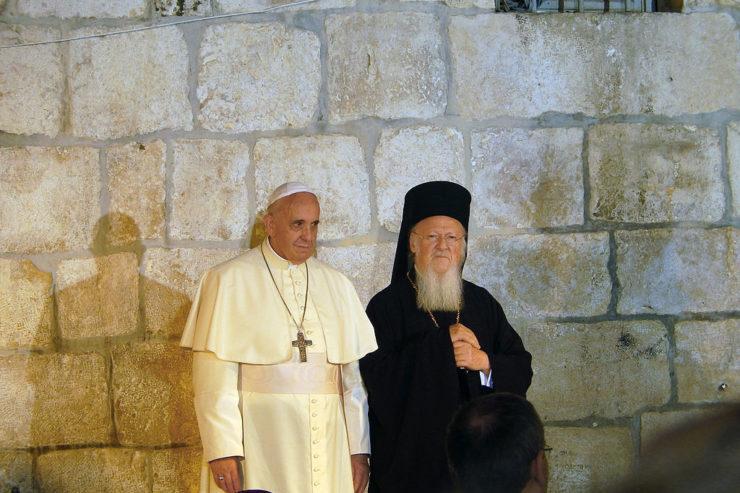 Le pape François et le patriarche Bartholomée à Jérusalem, 25 mai 2014, Creative Commons, Nir Hason