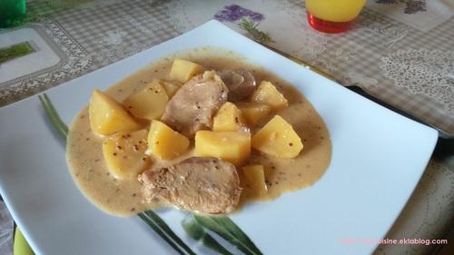 Filet mignon de porc aux deux moutardes et aux pommes de terre