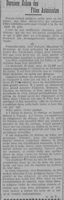 Derniers Echos des Fêtes Antoinistes (Le Fraterniste 15 août 1913)